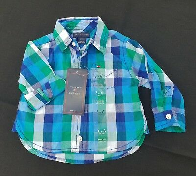 Tommy Hilfiger baby boy long sleeved blue green chequered shirt 3-6m BNWT