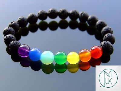 7 Chakra Black Lava Natural Gemstone Bracelet 6-9'' Elasticated Healing Stone