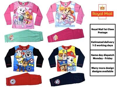 Official Paw Patrol PAW Pyjamas Pjs Pajamas Baby Girls Boys Kids Toddlers