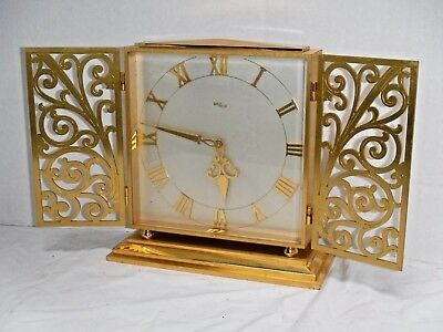 Fine Imhof Swiss 8 Day Desk Clock Scroll Gated Front Working Mid-Century Modern