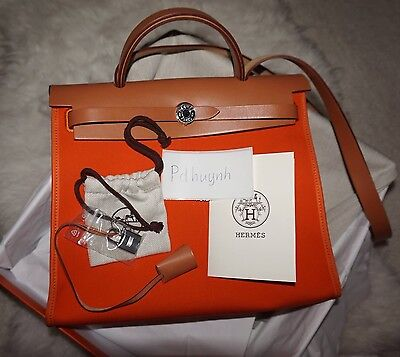 0cf5cf0bb467 MINT NEARLY NEW Authentic Hermes Herbag Zip 31 Orange -  2
