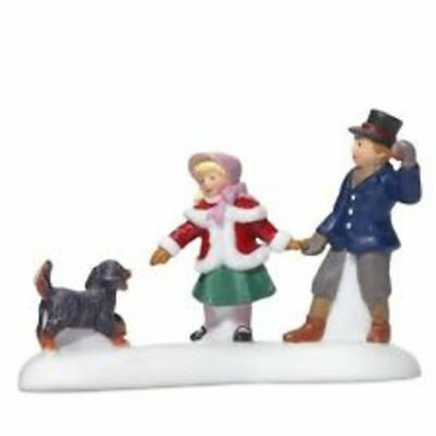 Dept 56 Dickens Village-Playing with a Puppy-Free ship-brand new