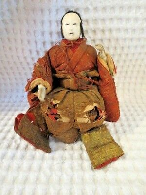 Antique handmade silk wood Chinese Emperor doll figure statue