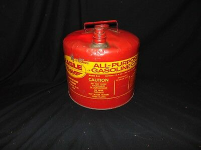 vintage Eagle Gas Can red color yellow letterin 5-A 5 Gallons 26 gauge steel