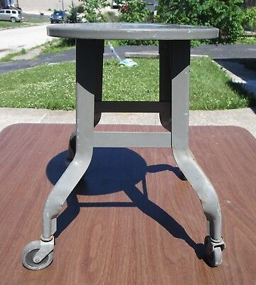 Vintage Industrial Metal Stool  Shop Stool With Casters