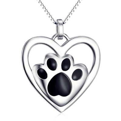 Love Heart Pendant Necklace Puppy Paw Pet 925 Sterling Silver 18 inch Box Chain
