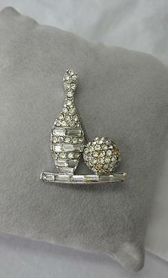 Vintage Pave Rhinestone Bowling Pin Ball Brooch Art Deco Paste 1930s Figural
