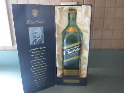 Johnnie Walker Blue Label EMPTY Scotch Whiskey Bottle & Satin Lined Box