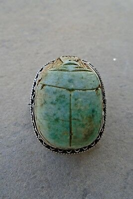 ANTIQUE Victorian Egyptian faience SCARAB in solid SILVER MOUNT BROOCH PENDANT