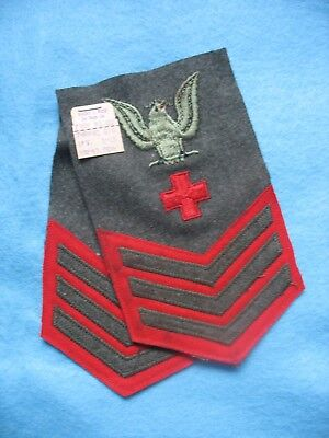 NOS WWII pair USMC Navy Corpsman PO 1st Class rate Wosk stock with tag.