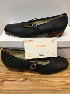 Black Scoop Clogging  Shoes Women's Size 8 N (NARROW) Steven Stomper Buck Taps