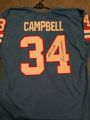 6cbc2745 EARL CAMPBELL signed autographed HOUSTON OILERS powder blue Jersey HOF