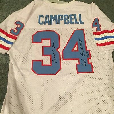 29bc2be5 EARL CAMPBELL signed autographed HOUSTON OILERS HOME WHITE Jersey HOF 91