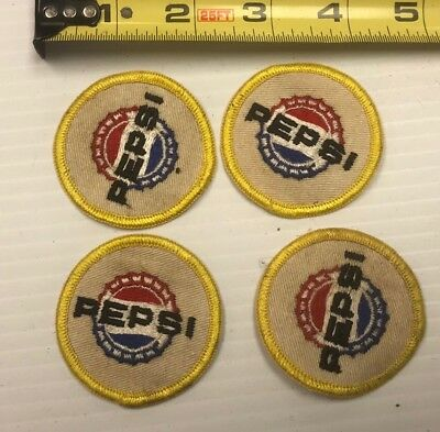 VINTAGE PEPSI COLA  EMBROIDERED SEW ON PATCH SODA BEVERAGE Lot Of 4