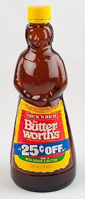 GLASS Mrs. Butter-worth's BOTTLE w/ LABELS & Cap 24 OZ Butterworth MRS Brown 10""