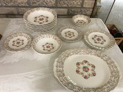 VTG Sebring Fortune Dishes Bowls Plates Replacement 16 Pieces 22k Gold