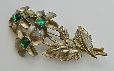 Art Deco Green Paste Glass Gold Tone Pot Metal Flowers & Leafs Pin Brooch
