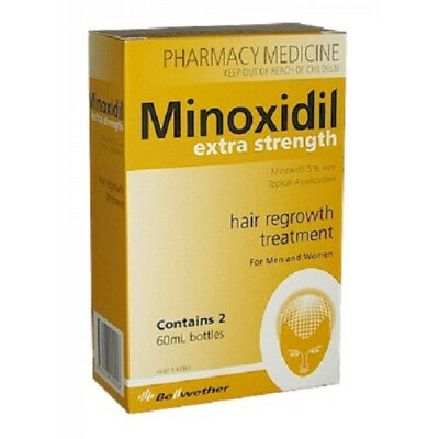 Minoxidil Extra Strength 5% 2 X 60ml Hair Regrowth Treatment 2 Month Supply