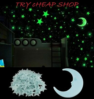 Glow Stars and Moon In The Dark Star Plastic Stickers Ceiling Wall Bedroom Kids