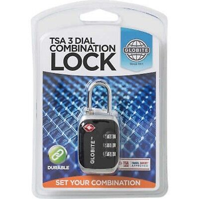 Globite 3 Dial Combination Lock  (Tsa) Travel Sentry Approved -Black