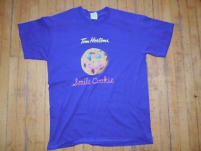 Womens Medium Tim Hortons Smile Cookie Promotional T Shirt Ex Condition Collect
