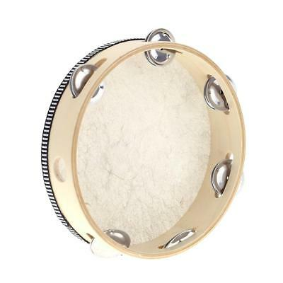 """8"""" Hand Held Tambourine Drum Bell Birch Metal Jingles Toy High Quality R6A2"""