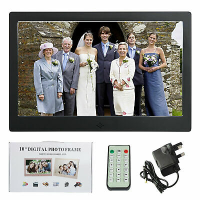 "UK Electronic 10"" Metal Digital Photo Frame LED LCD Picture Video Player Black"