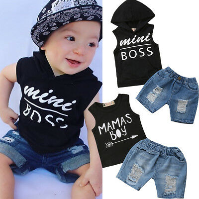 US Cool Kids Boys Baby Clothes Summer Hoodie T-Shirt Tops+Short Jeans Outfits