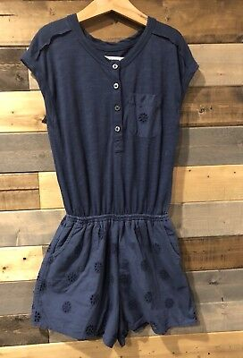 Abercrombie Kids Girls Size 9 10 Eyelet Lace Shorts Romper Blue Floral Beach