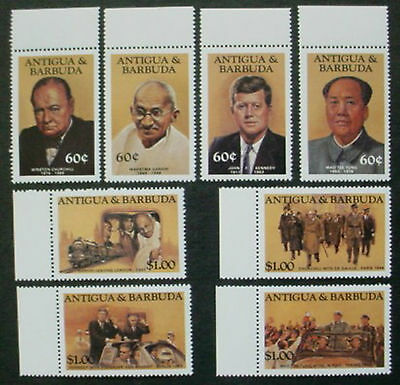 1984 Antigua & Barbuda: Famous People: Set Of 8 Mnh Stamps