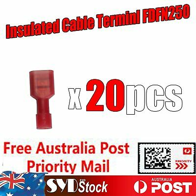 20pcs 22-16Awg Fully Insulated Cable Connector Lug Terminals Spade Crimp FDFN250