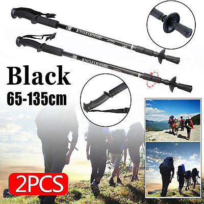 2X Hiking Trekking Poles Walking Stick Adjustable Camping Lightweight Anti Shock