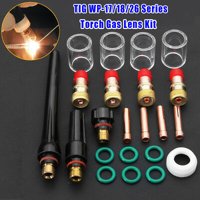 22pcs TIG Welding Torch Gas Lens Pyrex Glass Cup Kit For SR WP-17/18/26 Series