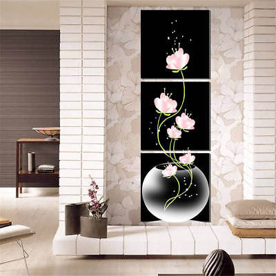 3pc Art Modern Flower Canvas Painting Picture Print Wall Hanging Home Room Decor