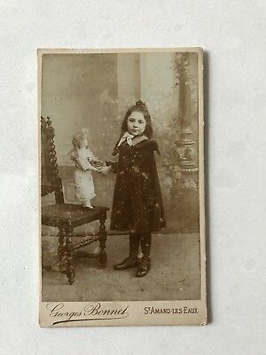 Antique French Cdv Photo Of A Beautiful Young Girl With Doll