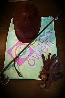 Charles Owen 'Young Riders Hat' size 7 / 57. With whip gloves and bag.