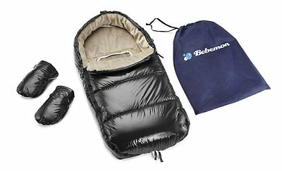 Black Bebemon Polar Sac Footmuff with Convenience Mittens & Carry Bag
