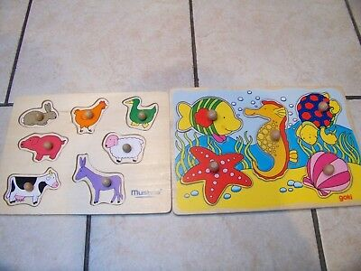 2 x Lift-up Baby PUZZLES (animal & sea life)  in wood