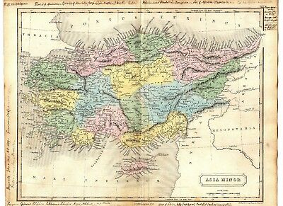 Antique MAP ~ ASIA MINOR ~ Longman HAND COLOURED 1847 Original