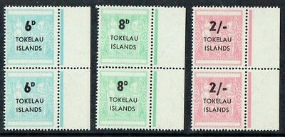 """Tokelau Is 1966 Arms set pairs - 2s with """"Nick in 2' variety Fine unmounted **"""