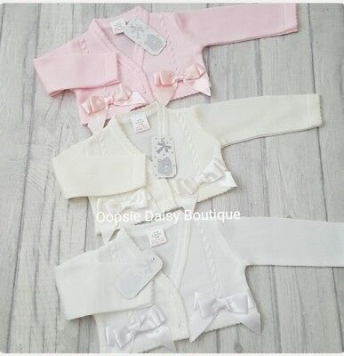 Baby Girls Gorgeous Spanish Bolero Double Ribbon Bow Cardigans upto Age 36mths