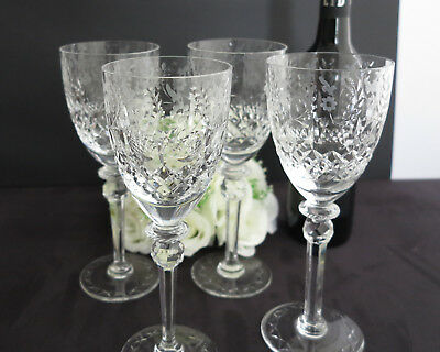 4 Rogaska Large Crystal Water/Wine Glasses, Gallia pattern, Cut & Etched, 1970s