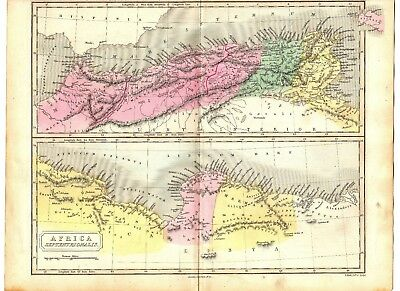 Antique MAP ~ NORTH AFRICA ~ Longman HAND COLOURED 1847 Original