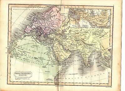 Antique MAP ~ EUROPE ASIA AFRICA ~ Longman HAND COLOURED 1847 Original