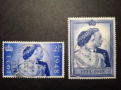 GB 1948 SILVER WEDDING set, 2 1/2d and £1, very fine used
