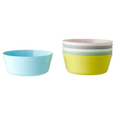 6x IKEA KALAS B plastic bowl set 6 colours for kids & party picnic beach Kitchen