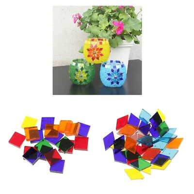 500 Pack Mosaic Tiles 10mm Square 11mm Rhombus for DIY Crafts Glass Supplies
