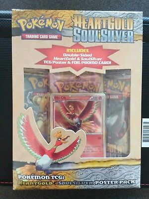 Pokemon TCG Ho-oh HGSS Poster box with 4 sealed booster packs.
