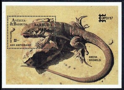 Barbuda 1987 Capex '87 Reptiles Lizard mini-sheet, fine unmounted **
