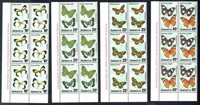 Jamaica 1977 Butterflies 2 set Corner imprint blocks of 6, fine unmounted **